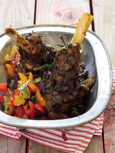 Lamb Shanks With Tomato, Red Onion And Basil Salsa Veal Recipes, Lamb Recipes, Gourmet Recipes, Dinner Recipes, Cooking Recipes, Gourmet Meals, Lamb Dishes, Pasta Dishes, Cooking Lamb Shanks