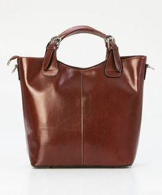 Brown Buckle-Handle Leather Tote #zulily #zulilyfinds