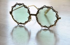 Vintage 1960s Green Disco Hipster Sunglasses Atomic Novelty Party Summer Women. $45.00, via Etsy.