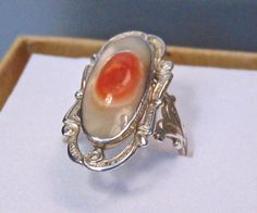 Vintage Sterling Mother of Pearl Ring, 1940's Ring, Size 5.75 by EclairJewelry on Etsy