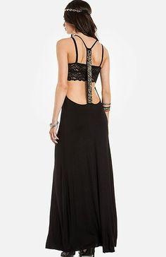 Black jersey empire line maxi dress