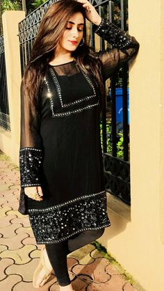 Beautiful formal embroidered black dress Source by dress pakistani Designer Party Wear Dresses, Kurti Designs Party Wear, Indian Designer Outfits, Stylish Dresses For Girls, Stylish Dress Designs, Simple Dresses, Simple Pakistani Dresses, Pakistani Dress Design, Pakistani Fashion Party Wear