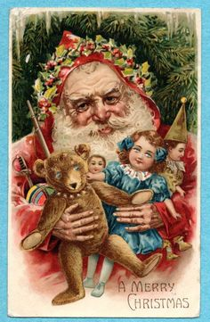 HTL6 Hold to Light Santa Claus postcard, Teddy Bear  | eBay