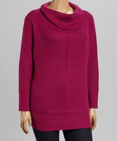 Another great find on #zulily! Wine Honeycomb Cowl Neck Sweater - Plus #zulilyfinds