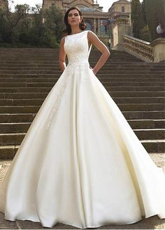 Buy discount Fabulous Satin Bateau Neckline A-line Wedding Dresses With Lace Appliques at Dressilyme.com