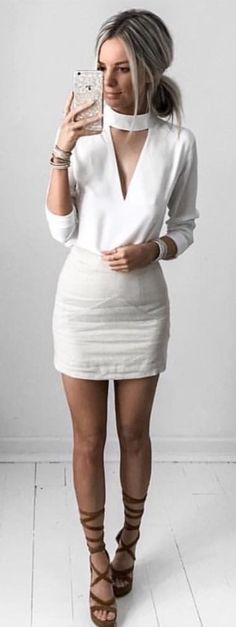 #spring #outfits  White Chocker STEVENSON Top   Ivory Skirt
