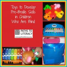 Toys to help young children who are blind or visually impaired to develop pre-braille skills! *Visit pinterest.com/wonderbabyorg for more braille toy ideas!