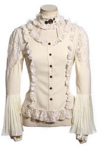 RQ-BL Cream Steampunk Blouse with Lace Trim and Detachable Collar