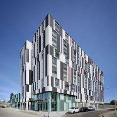 Wakering road foyer- student housing, Barking, UK. Jestico+ Whiles arch. EQUITONE facade materials. equitone.com | #brilliantbuildings