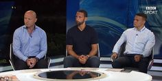Former England internationals (from left) Alan Shearer, Rio Ferdinand and Jermaine Jenas working for BBC