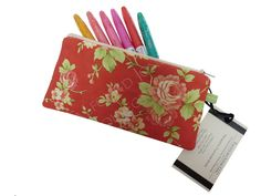 Red Floral Zipper Fabric Pencil Pouch - Padded Eyeglass Case - Female Accessory - Farmhouse by Moda - Ladies Gift - Wife Gift by TalfourdJones on Etsy