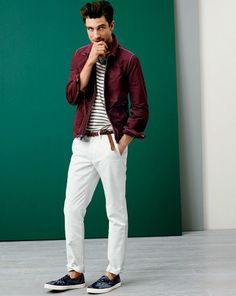 J.Crew nylon deck jacket, broken-in chino and braided leather belt. To preorder call 800 261 7422 or email erica@jcrew.com.