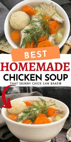 Perfect for those days you're under the weather or just on a chilly night when you need some comfort food! This homemade chicken soup is the best you'll ever taste. And it's called Jewish Penicillin for a reason!! It's good for what ails you! Homemade Chicken Soup, Soup Recipes, Healthy Recipes, Chow Chow, Chowder, Stew, Chili, Yummy Food, Meals