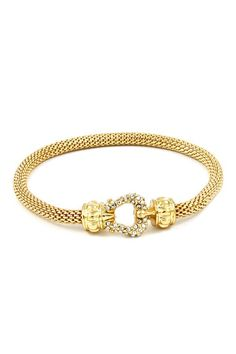 Classic Cable Mesh Bracelet in Gold with a touch of Crystals. |Jewelry - Daily Deals|