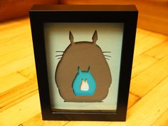 "Totoro Silhouette Negatives Layered Paper Cut Art Piece 4""x6"" Shadowbox Frame"