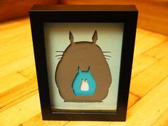 "Totoro Silhouette Negatives Layered Paper Cut Art Piece 4""x6"" Shadowbox Frame"