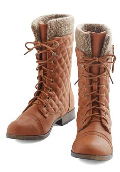 Quilt on Dreams Boot. Start the day on a fancifully stylish note in these cognac-brown boots. #tan #modcloth