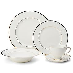 Understated and chic, Mikasa Cameo Gold Dinnerware features an elegant gold trim on snowy white porcelain. Add the perfect touch of luxury to any occasion with this classically stylish collection. The Perfect Touch, Mikasa, Kitchen Items, Dinner Table, White Porcelain, Fine China, Dinnerware, Decorative Plates, Tableware