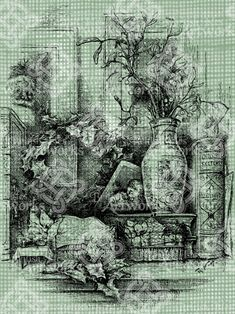 Christmas Wreath Clipart, Santa Wreath, Christmas Wreaths, Antique Illustration, Digital Stamps, Digital Image, Ivy, Clip Art, Antiques