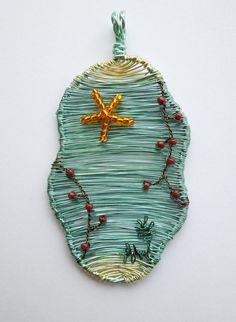 Cornish Rockpool wire wrapped pendant