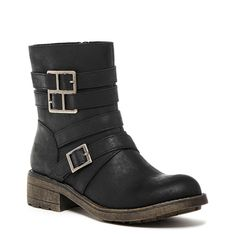 Throttle Black Biker Boot