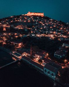 King of the castle Molyvos by night. Well despite the photo being slightly grainy. Need to time my sunset drone photos better. Greece Travel, Greek Islands, Lighting Design, Paris Skyline, Castle, King, Sunset, Night, Instagram