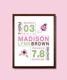 11x14 Birth Print for Boys and Girls Custom by potatopatch