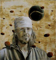 """Tommaso Pincio """"Ritratto di David Foster Wallace"""", 2011, olio su tavola, cm. 65 x 60"""