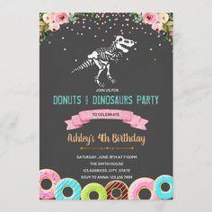 "Girl donuts dinosaur birthday invitation Size: 5"" x 7"". Gender: unisex. Age Group: adult. Material: Semi-Gloss. 5th Birthday Girls, Girl Dinosaur Birthday, Donut Birthday Parties, Donut Party, Third Birthday, Birthday Ideas, Kid Parties, Happy Birthday, Halloween Birthday Invitations"