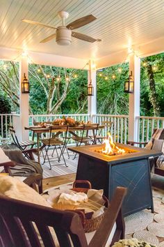 8 simple ways to add cozy style to your porch and outdoor spaces for fall with tips for lighting, warmth, and an easy color palette. #fallporch