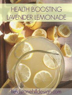 lavender lemonade via @FieldstoneHill Design, Darlene Weir Design, Darlene Weir #oilyfamilies #summerrecipes