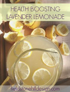 Health Boosting Lavender Lemonade - for vitamin C, detox, d-limonene boost, and even an allergy aid.... Uses essential oils and honey