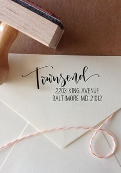 Personalized Calligraphy Return Address Stamp Handwritten