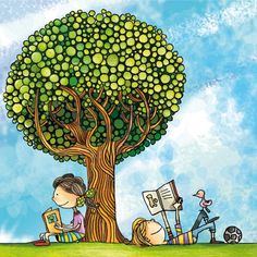 Little boy and girl reading outside under tree Kids Reading Books, Reading Art, Girl Reading, Children Books, I Love Books, Books To Read, My Books, Book People, Book Images