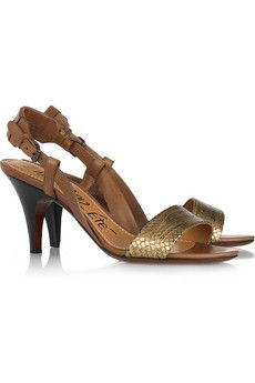 Python and leather sandals by Lanvin