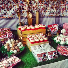 Dessert Table at a Baseball Party #baseballparty #desserttable