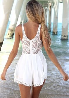 White Patchwork Lace Sleeveless Linen Cotton Jumpsuit - Jumpsuit Pants - Bottoms