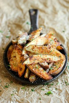 Amazingly crisp, oven-baked fries coated with freshly grated Parmesan and a generous dose of garlic goodness!