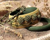 Bangle set Branches Balls - 3pcs - Floral polymer clay bracelets - Wide bangle - Mustard khaki green bracelet - Multistrand beaded bracelet