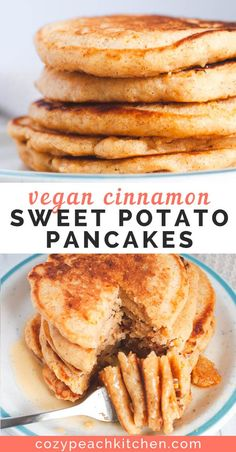 These fluffy vegan sweet potato pancakes are perfect for a fall weekend breakfas. These fluffy vegan sweet potato pancakes are perfect for a fall weekend breakfast. They're easy to make and also work as a vegan waffle recipe! Vegan Keto, Vegan Foods, Vegan Dishes, Vegan Desserts, Vegan Sweets, Health Desserts, Vegan Appetizers, Sweet Desserts, Whole Foods