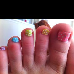 Easter nails, except multi-colored pastel nails with polka dots on the fingers :)