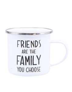 cup | metal | white | friends are the family you choose | ZOOT