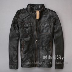 Find More Leather & Suede Information about Free Shipping 2015 New Men Leather Jacket Black Vintage Stand Collar 100% Genuine Cow Skin Leather Hunting Men Winter Coat,High Quality jacket leather for men,China jacket harley Suppliers, Cheap coat autumn from ShowGirl Fashion on Aliexpress.com