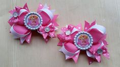 "Paw Patrol "" Skye "" girls hair bows. Set of 2. Perfect for piggy tails :)"