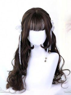 Hime cut inner buckle long curly hair lolita wig art for the Curly Hair Types, Curly Hair With Bangs, Long Curly Hair, Hairstyles With Bangs, Modern Hairstyles, Layered Hairstyles, Beautiful Hairstyles, Wavy Hair, Hairstyle Ideas