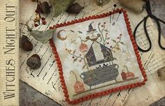 PRE-ORDER Witches Night Out : Country Stitches With Thy Needle and Thread Brenda Gervais cross stitch patterns Halloween Autumn holidays