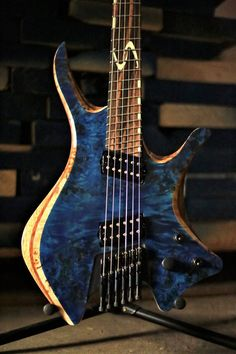 """Skervesen Shoggie6 Multiscale(25""""-26""""). Macassar ebony fretboard with custom inlays made from Luminlay. High grade poplar burl top, bubinga middle layer, black limba body. — with Bare Knuckle Pickups, Luminlay and ABM High Quality German Guitar Parts GmbH."""