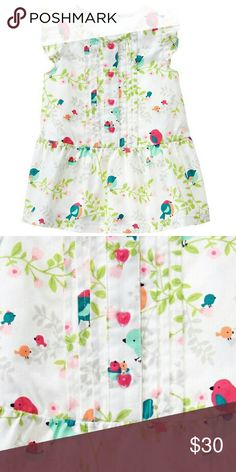 Lovebirds Dress 100% cotton twill Button front Pintucking detail Fully lined Allover print Includes diaper cover Machine wash Gymboree Dresses