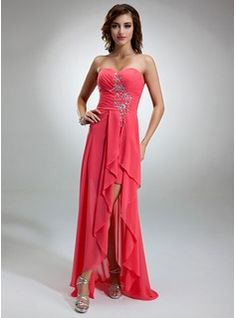 Special Occasion Dresses - $157.99 - A-Line/Princess Sweetheart Asymmetrical Chiffon Holiday Dress With Beading Cascading Ruffles  http://www.dressfirst.com/A-Line-Princess-Sweetheart-Asymmetrical-Chiffon-Holiday-Dress-With-Beading-Cascading-Ruffles-020025943-g25943