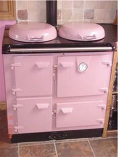 """My SIL's pink cast iron stove. She ordered it in Ireland and said, """"Any chance you could make it pink?"""""""